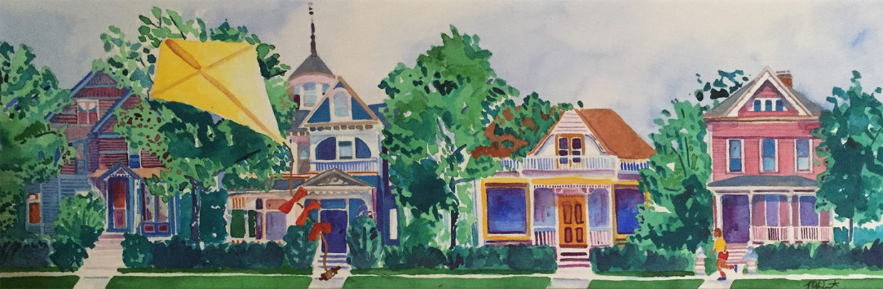 Victorian houses watercolor